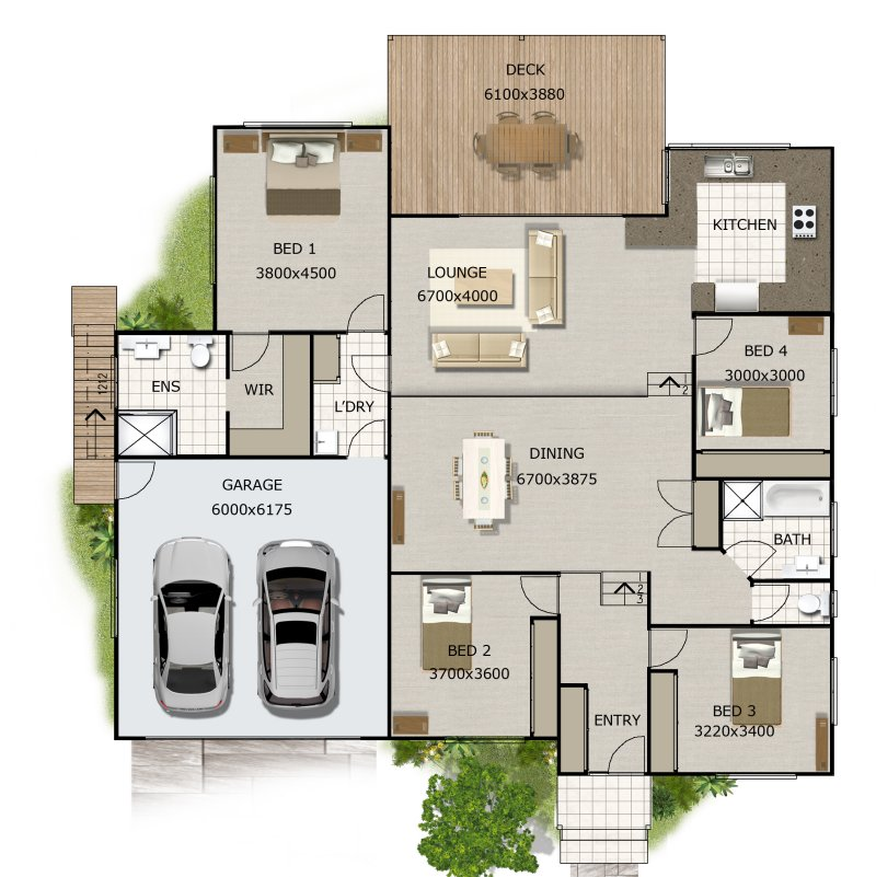 4 Bed Split Level Home Design266KR Double Garage Australian – 4 Level Split House Floor Plans