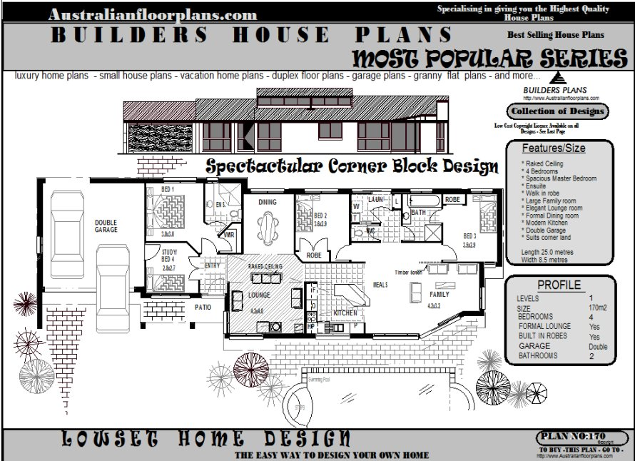 Australian houses 4 bedroom corner land design suits narrow 170 m2 size home corner land house plans Master bedroom size m2