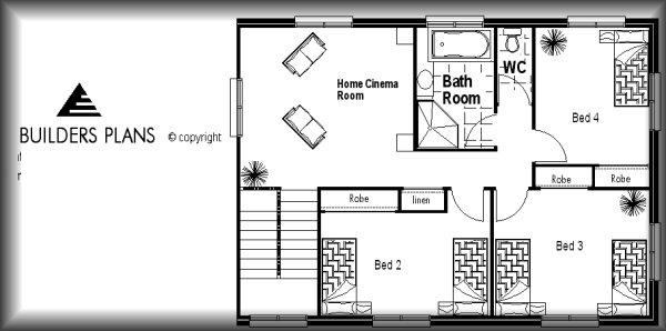 Narrow Block House Floor Plan