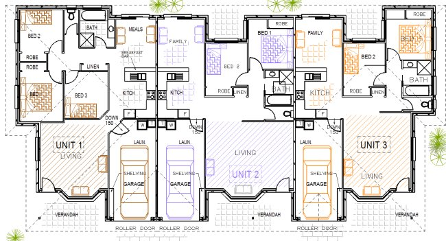 3 Unit Triplex Design Kit Home Designs Australian Kit Homes Steel Framed Homes Timber Framed Homes Steel Kit Homes Floor Plans Triplex Duplex House Plans