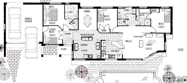 Narrow 4 Bedroom House Plan 170 Clm, Duplex Floor Plans With Double Garage Australia