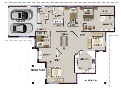 3 Bed Single Storey House Plan No 208 4 Bed Sunken Lounge 3 Bed