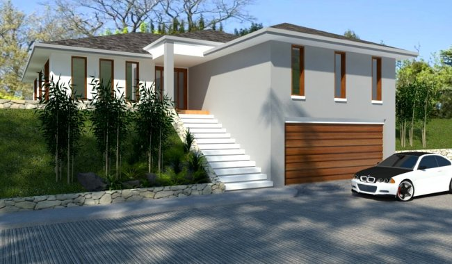 4 Bedrooms Sloping Land Home Plan Garage Under