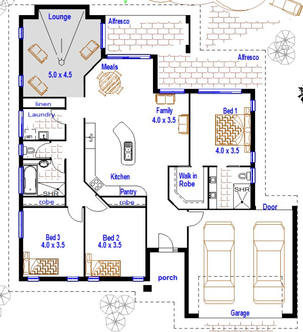 house: 3 Room House Plan With Double Garage