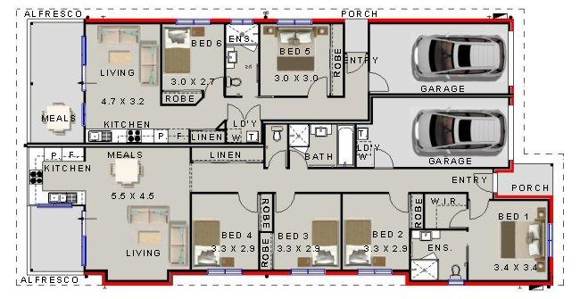 Australian 6 Bedrooms - Dual Key Home Design| 6 Bedrooms ...