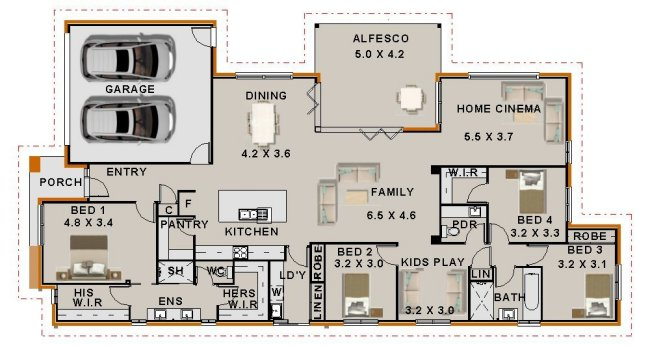 4 Bed Home Cinema Plan 265 5sp Ranch 2 Car Garage