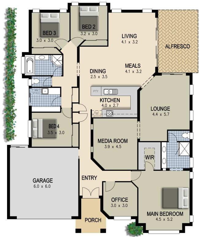 Independent And Simplified Life With Garage Plans With: Australian House Plan-4 Bedroom + Study+ Lounge+ & Media Room