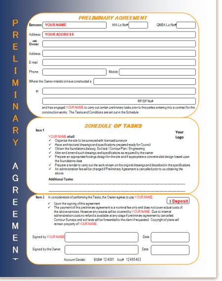 Builders Preliminary Agreement Formhome Builders Office Forms And