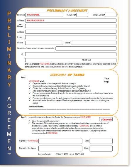 Builders Preliminary Agreement Deposit Form Building Build